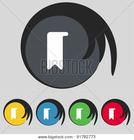 Bookmark Icon Sign. Symbol On Five Colored Buttons. Vector