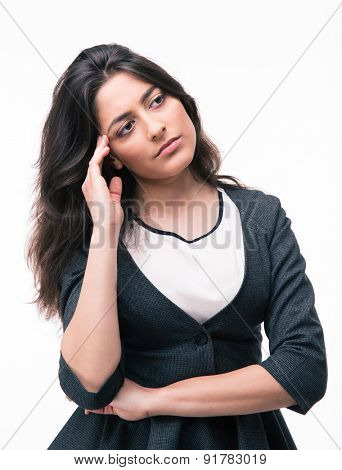 Portrait of a pensive businesswoman looking away isolated on a white background