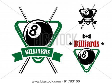 Pool emblems with balls, cues, triangle racks