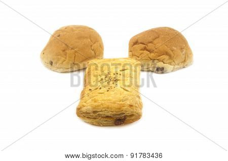 Bread Cut In Half On White Background