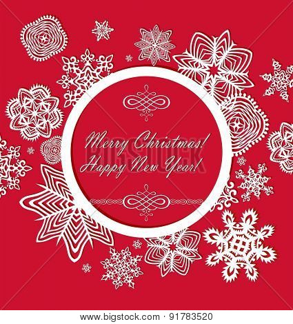 Seasonal ornate red greeting with paper frame and snowflakes