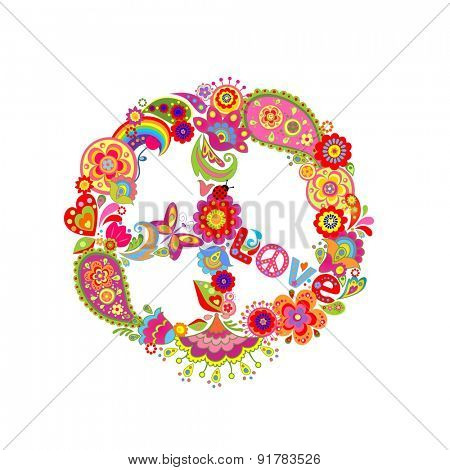 Peace flower symbol with paisley and abstract colorful flowers