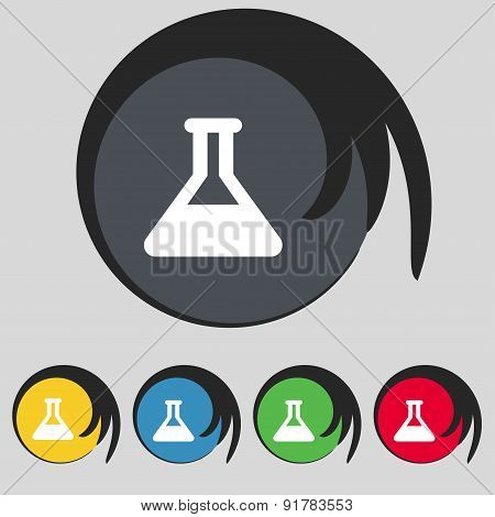 Conical Flask Icon Sign. Symbol On Five Colored Buttons. Vector