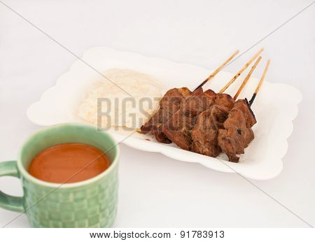 Grilled Pork, Pork Steak, Barbecue Pork With Rice And Hot Milk Tea (moo Yang, Mu Ping)