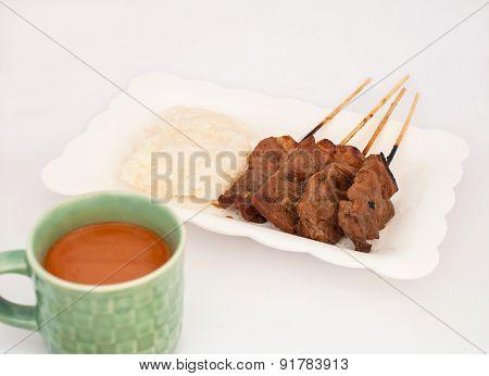 Grilled Pork, Pork Steak, Barbecue Pork With Rice And Hot Milk Tea (moo Yang, Mu Ping)
