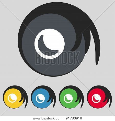 Moon Icon Sign. Symbol On Five Colored Buttons. Vector