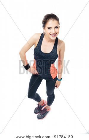 Smiling fitness woman posing isolated white background. Looking at camera