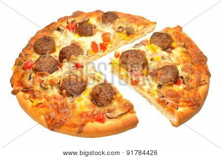 Freshly Baked Meatball Pizza