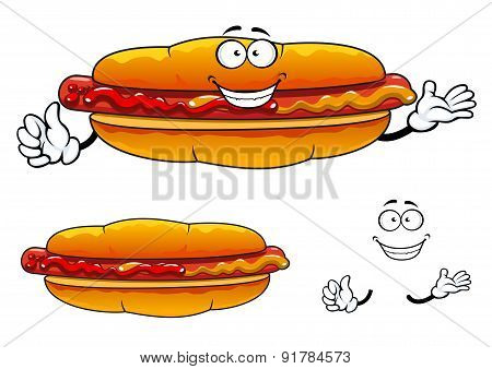 Cartoon grilled fast food hot dog character