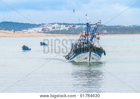 AS-SAWIRA, MOROCCO, APRIL 7, 2015: Fishing boats moor in port