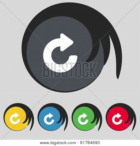 Upgrade, Arrow Icon Sign. Symbol On Five Colored Buttons. Vector