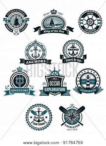 Marine icons and badges with nautical symbols