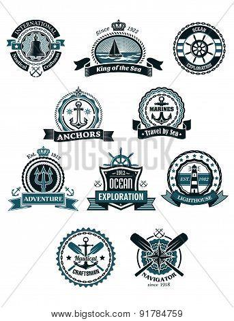 Marine icons and badges with nautical symbols