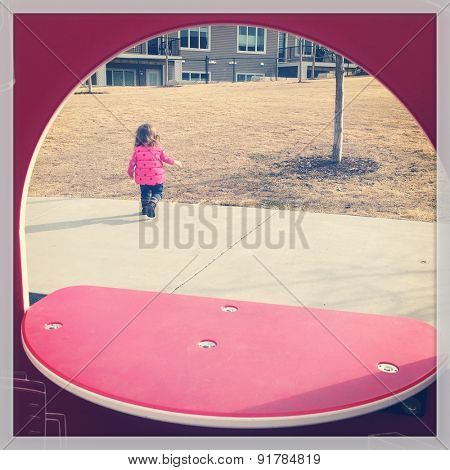 Instagram effect of Little girl at Playground