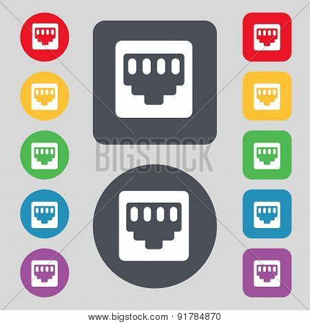 Cable Rj45, Patch Cord Icon Sign. A Set Of 12 Colored Buttons. Flat Design. Vector
