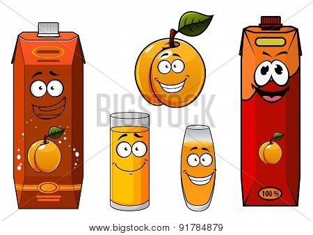 Apricot juice containers and fruit characters
