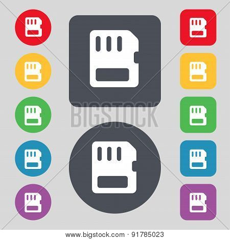 Compact Memory Card Icon Sign. A Set Of 12 Colored Buttons. Flat Design. Vector