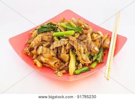 Stir Fried Rice Noodle With Pork On White Background