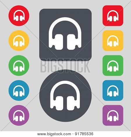 Headphones, Earphones Icon Sign. A Set Of 12 Colored Buttons. Flat Design. Vector