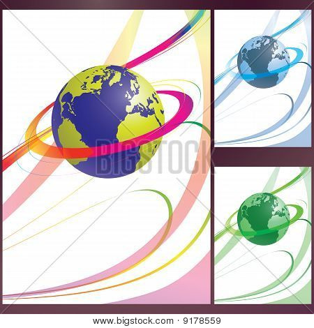 Vector Abstract Swirling Earth Set