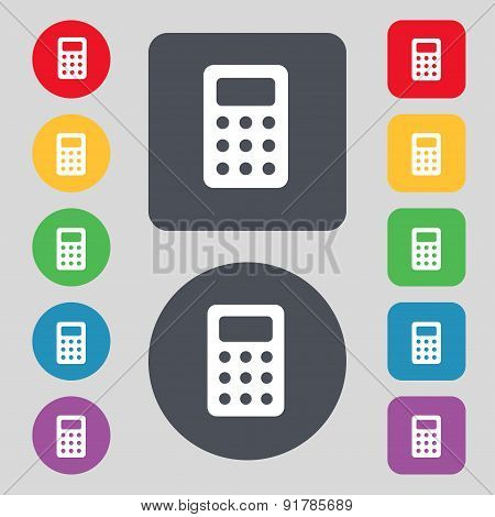 Calculator, Bookkeeping Icon Sign. A Set Of 12 Colored Buttons. Flat Design. Vector