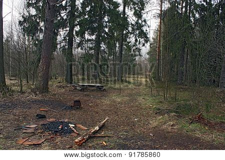 The Place Of Camp Tourists In The Forest.