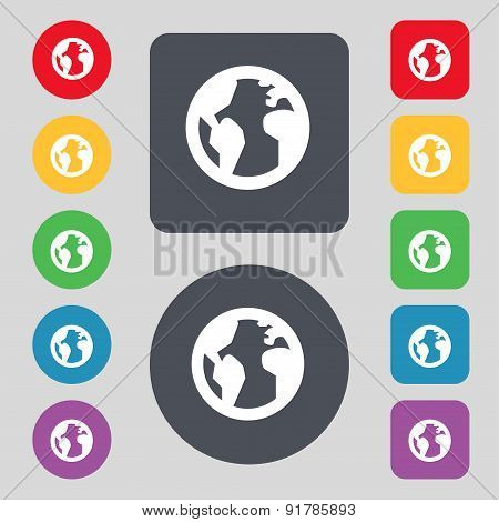 Globe, World Map Geography Icon Sign. A Set Of 12 Colored Buttons. Flat Design. Vector