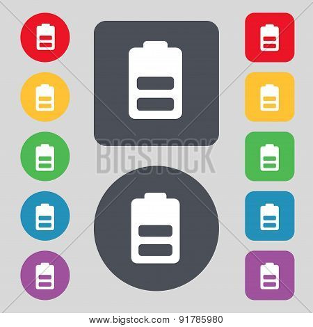 Battery Half Level, Low Electricity Icon Sign. A Set Of 12 Colored Buttons. Flat Design. Vector