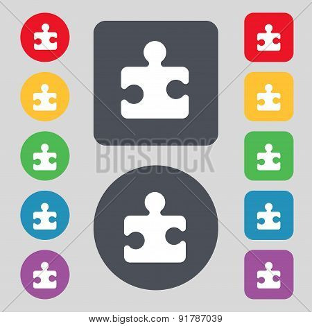 Puzzle Piece Icon Sign. A Set Of 12 Colored Buttons. Flat Design. Vector