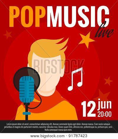 Pop Singer Flat Poster