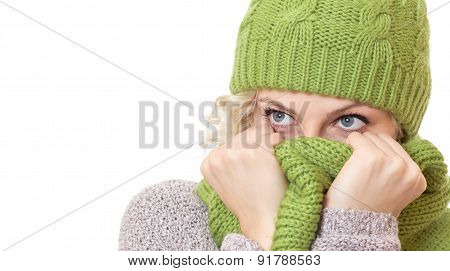 Girl Covered Her Mouth And Nose Or Face With Scarfand Looking. Head Shot Of Girl With Warm Wool Clot