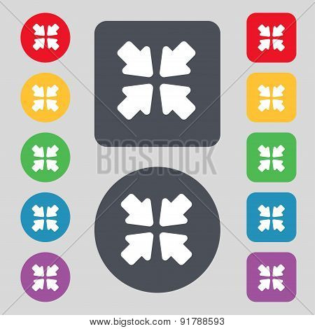 Turn To Full Screen Icon Sign. A Set Of 12 Colored Buttons. Flat Design. Vector