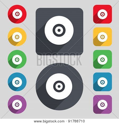 Cd Or Dvd Icon Sign. A Set Of 12 Colored Buttons And A Long Shadow. Flat Design. Vector