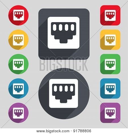 Cable Rj45, Patch Cord Icon Sign. A Set Of 12 Colored Buttons And A Long Shadow. Flat Design. Vector