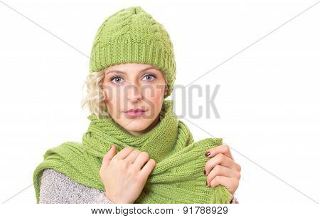 Female Wearing Warm Sweater With Wool Scarf And Cap, Isolated On White Background. Woman Wearing Win