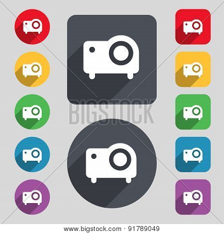 Projector Icon Sign. A Set Of 12 Colored Buttons And A Long Shadow. Flat Design. Vector
