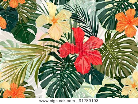 Bright colorful tropical seamless background with leaves and flowers