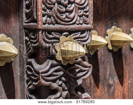 Carved door in Stone Town, Zanzibar