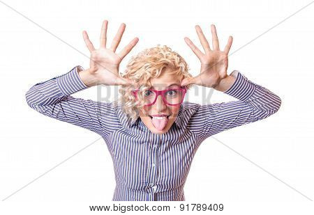 Funny Woman Pulling A Face And Sticking His Tongue Out ,isolated On White Background. Close Up Studi