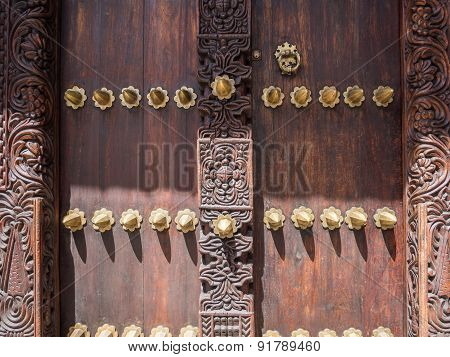 Traditional carved door in Stone Town, Zanzibar