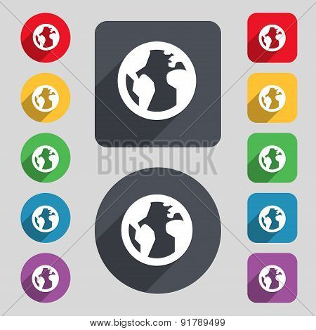 Globe, World Map Geography Icon Sign. A Set Of 12 Colored Buttons And A Long Shadow. Flat Design. Ve