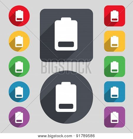 Battery Low Level, Electricity Icon Sign. A Set Of 12 Colored Buttons And A Long Shadow. Flat Design