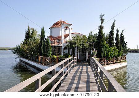 Church on lake Vistonida