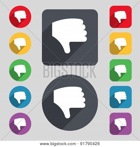 Dislike, Thumb Down, Hand Finger Down Icon Sign. A Set Of 12 Colored Buttons And A Long Shadow. Flat