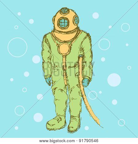 Sketch Cute Vintage Diving Suit