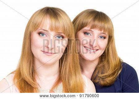 Young Twins Girls Isolated On White Background