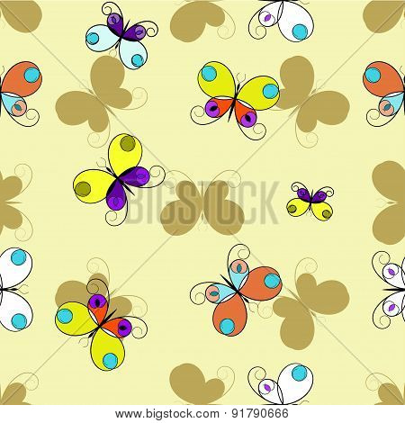 colorful butterfly on shampagn background