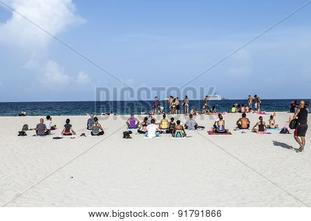 People At The Sea Side In South Beach, Miami