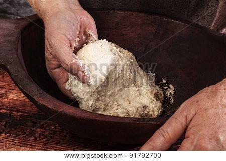Hands Knead Dough.