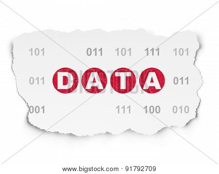 Information concept: Data on Torn Paper background